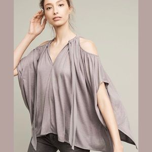 Anthro {Deletta} Tulay Open-Shoulder Shimmer Top
